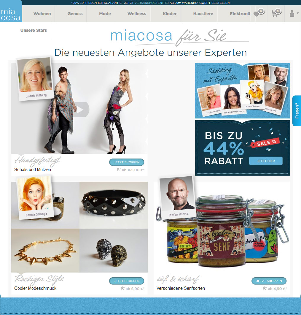Screenshot: miacosa - Endorsed Goods GmbH